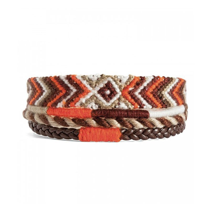 Hipanema Bracelet Liens en Coton Orange & Beige Homme - 1