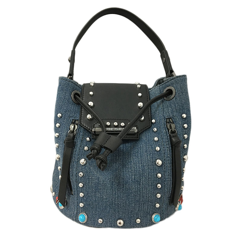 Diesel - Sac à main denim clouté finition cuir femme