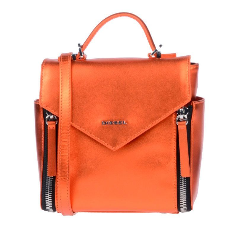 Diesel sac à main bandoulière amovible orange brillant femme