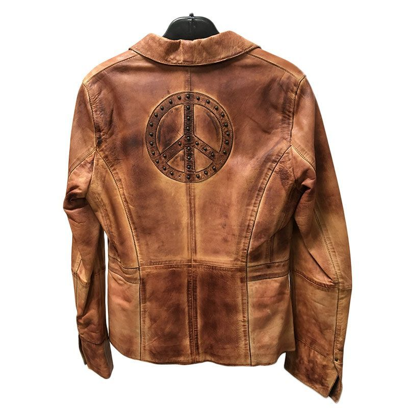 Heine Veste en cuir vintage used logo Peace and Love au dos femme - 1